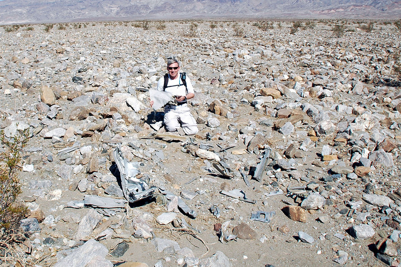Me in the crater holding one of the wing tips.