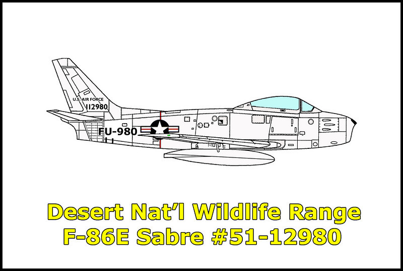 On 7/7/53 the F-86A #49-1287 flown by an instructor and the F-86E #51-12980 flown by a student were involved in a mid-air collision during gunnery practice near Nellis Air Force Range. The instructor was killed in the accident while the student was able to parachute to safety. Both pilots were assigned to the 3596th Combat Crew Training Squadron out of Nellis AFB.  <br /> <br /> On this trip, I was able to find wreckage from The F-86E and maybe some of the wreckage from the F-86A.