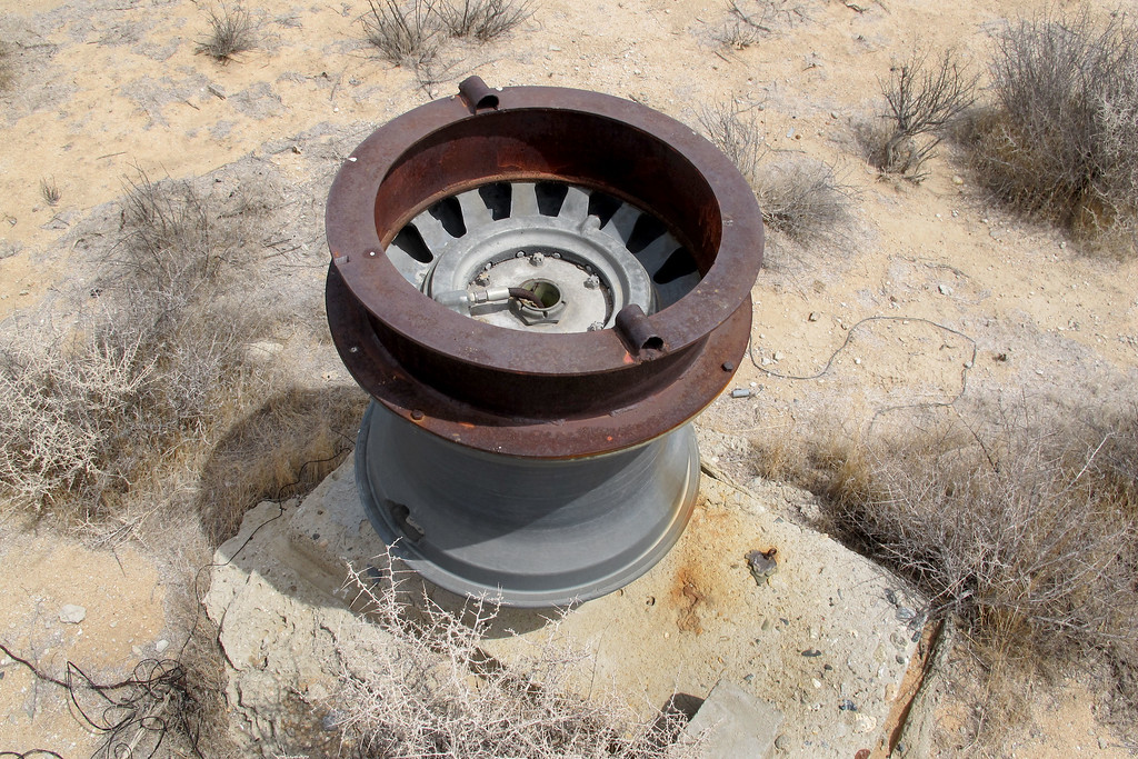 Another view of the B-29 wheel and cable spool.