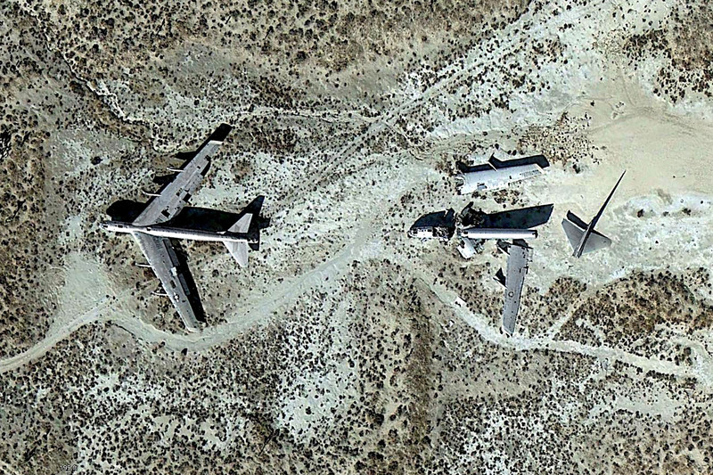 This Google Earth image shows the position of the B-52s.