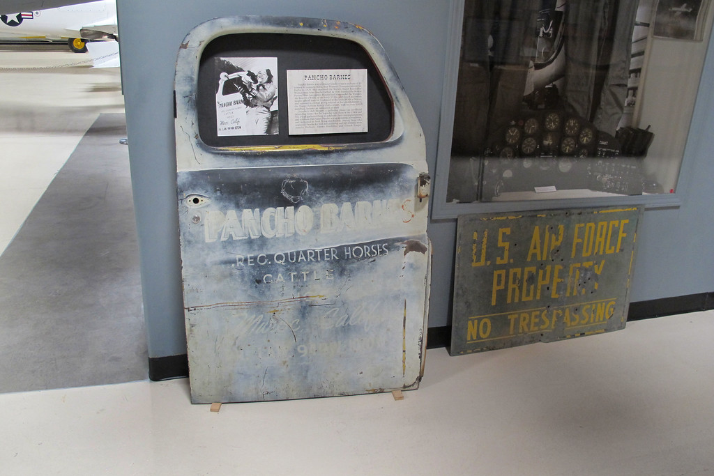 This was an interesting item, it's a truck door from Pancho Barnes ranch. The photo shows Pancho next to the truck<br /> <br /> We only stayed a short time at the museum, I could have spent hours  checking out the displays.