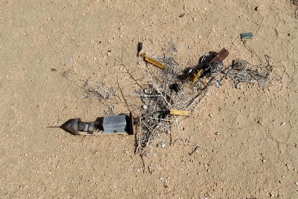 While hiking back to the vehicles, we came upon instruments from an old weather balloon. In the past, I've found these things scattered all over the Mojave Desert.