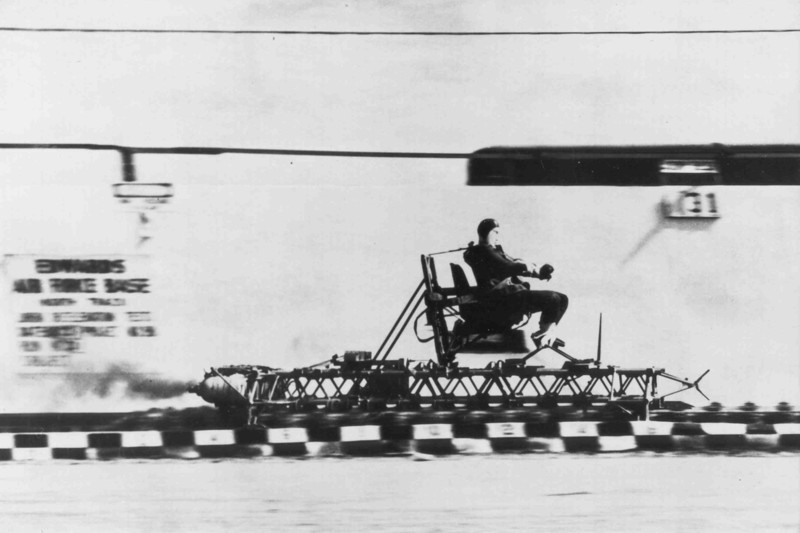"Found this photo online, it was titled as "" Lt. Col. John P. Stapp rides the rocket sled at Edwards Air Force Base"".  <br /> <br /> USAF Photo"