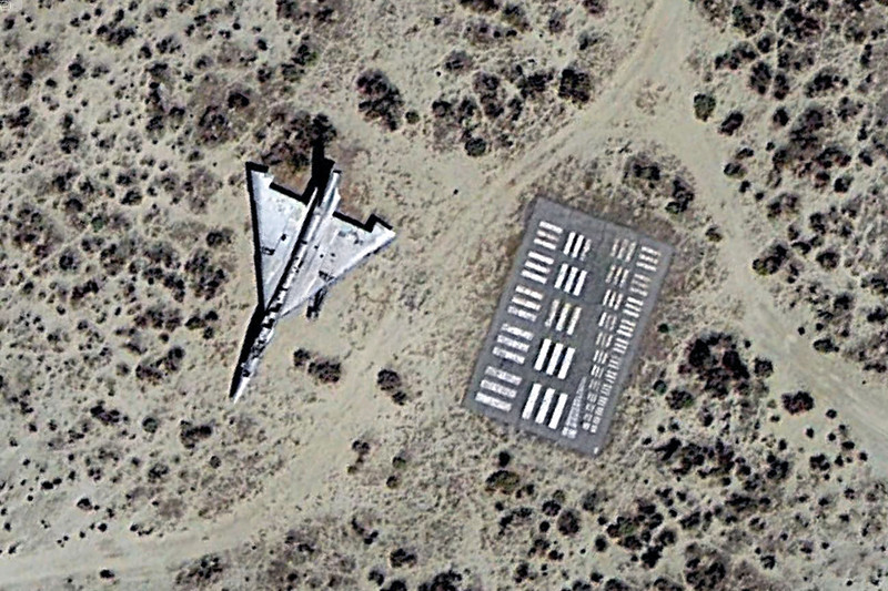 This Google Earth image shows that the B-58A is parked next to a photo resolution test target. Guessing that's also what the bomber is now used for.