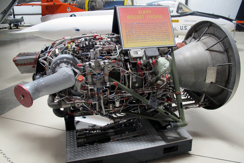 Reaction Motors XLR99 rocket engine. This model replaced the two XLR11s used on the early flights. At sea level it put out 50,000 pounds of thrust, and over 57,000 at 100,000 feet out powering the two XLR11s.