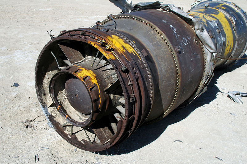 The engine is in really good shape for coming from a plane that crashed??? First thought that maybe the pilot bellied it in the desert, but from what little I found on the accident, it said that the pilot ejected.