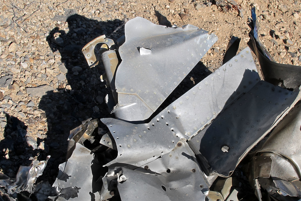 A small piece of the rudder was still attached to the fuselage section.