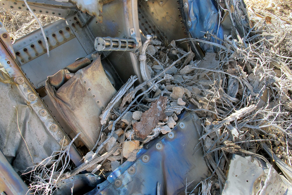 The desert pack rats have made a home as they have with some of the other pieces of wreckage.