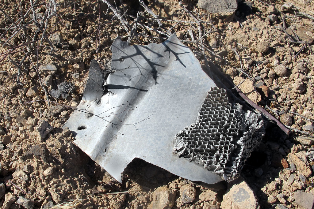 Honeycomb structure, probably from one of the control surfaces.