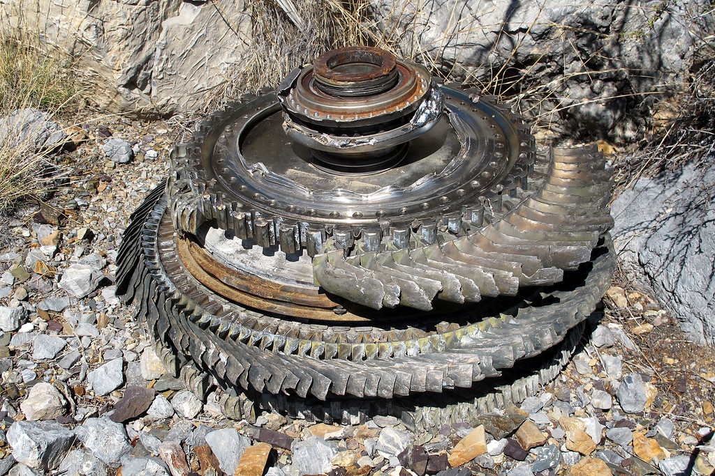 The turbine discs from one of the two General Electric J79s that powered the F-4D.