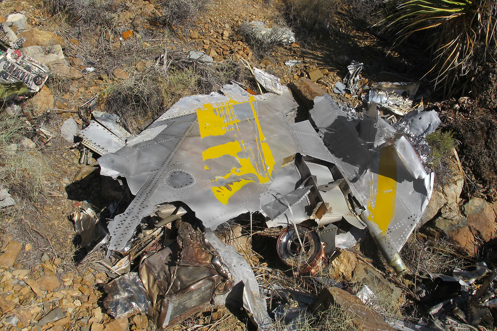 The fin and rudder. The trailing edge of the rudder was pulled apart with the honeycomb core exposed.