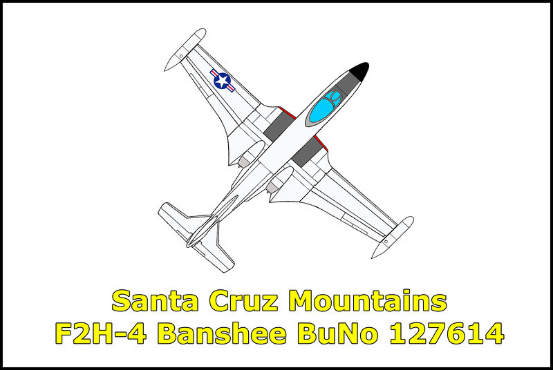On 2/22/59 the McDonnell F2H-4 Banshee BuNo 127614 was on a flight of two aircraft from NAS North Island, San Diego to Alameda Naval Air Station. The F2H-4 piloted by Lt. James F. Wyley descended into the fog and rain while flying over the Santa Cruz Mountains and struck trees on a ridge causing it to crash into the heavily wooded valley below. His wingman Ens. L. L. Marshall reported the accident and Lt. Wyley's aircraft, and body, were located after a five hour search by Santa Clara County Deputy Sheriffs.