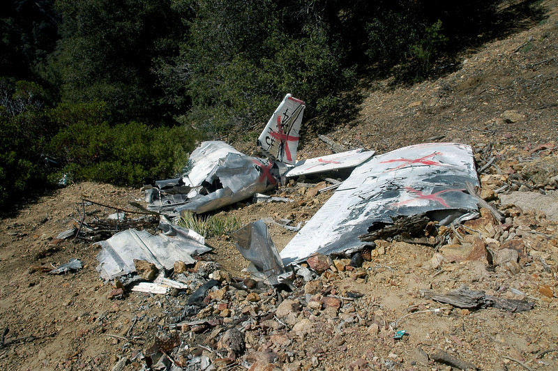 The left wing looks like it's in the original position by the location of the melted debris around it. The other pieces have been moved. The report stated that, The wings, tail, and engine were all present in their appropriate locations.