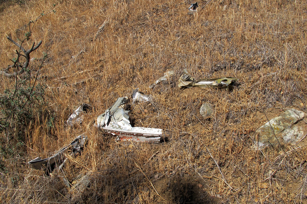 Small group of pieces. The pieces I'm finding are widely scattered, hoping they lead me to the main crash site.