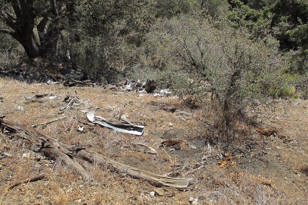 After about an hour of hiking around and checking out the pieces I was finding, I came to the area that looks like the place the main wreckage came to rest. No large pieces remain, but there's hundreds of smaller ones.