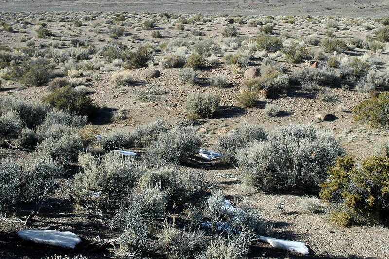 At the crash site of the F-4E #68-0518. The impact crater is in the center of the photo. The white stuff is a little snow that remains from the last storm.