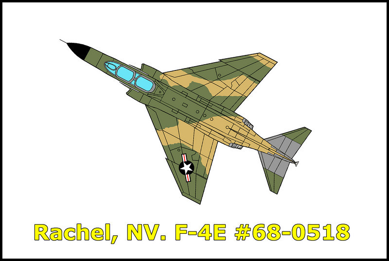 On 9//2/77, the F-4E #68-0518 call sign UKE 21 possessed by the 33 TFW, Eglin AFB, Florida crashed during Red Flag 77-9. The aircraft was flying as lead of a flight of two for the Blue Forces. The aircraft impacted the ground in a 25 degree nose down angle at 310 KIAS as the aircrew attempted to negate a stern gun attack by Hawk 42, an F-15 aggressor. The pilot, Captain David W. Sanden and weapons systems officer, 1st Lieutenant James I. Lewis III were killed in the accident.