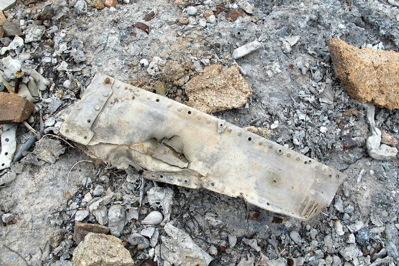 This was a largest piece of wreckage at the site, it's about a foot long.