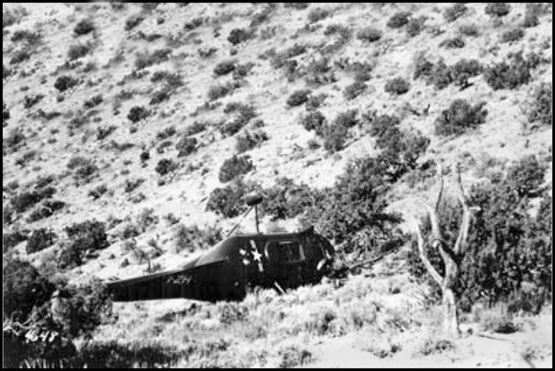 This photo taken after the accident shows the condition of the helicopter before the it was blown up by the military.