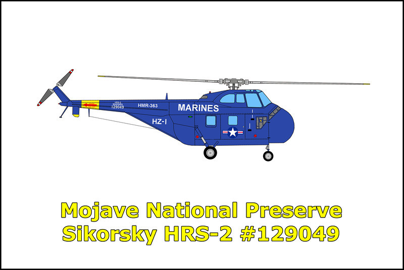 November 20, 1952 the USMC Sikorsky HRS-2 BuNo 129049 crashed during the recovery of microwave transmission equipment from a mountain top in the Mojave National Preserve. The accident happened as the pilot was attempting to land on the peak, but came up short due to heavy winds and downdrafts. The tail rotor struck a tree and rocks and was broken off causing the pilot to lose control. After crashing to the ground, the helicopter rolled about three hundred feet down the slope before coming to rest on it's left side. Luckily pilot Maj. Dwain Lengel, co-pilot Capt. Gaylord Drutknecht and the two passengers weren't injured in the accident. The HRS-2 was fairly intact and did not burn after the accident, but due to it's remote location the military decided to blow it up instead of attempting the difficult recovery. The HRS-2 was one of two US Marine Corp heavy duty helicopters provided from the Squadron 363 of the 36th stationed at El Toro, California. The microwave equipment was installed on four peaks by the Los Angeles television station KTLA to relay the first telecast of an atomic bomb blast from the Nevada test site seven months earlier on 4/22/52.