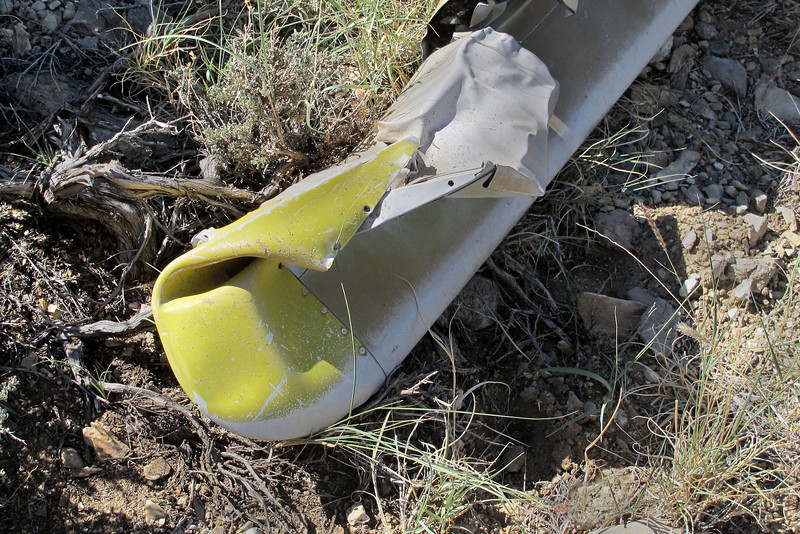 The yellow paint can still be seen on the blade's tip.