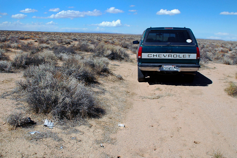 About a year ago Tom G. gave me the general location of where I could find the YF-104A crash site. I has going to meet a group of friends to do a hike in the Lava Mountains and decided to try and locate the site on the way. While driving on one of the dirt roads in the area, came upon some aircraft wreckage right along side the road. This must be the place.