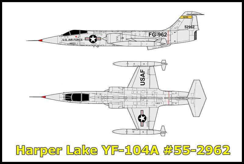 "On May 1, 1957 while on a routine test flight from Air Force Plant 42 in Palmdale, Ca, the Lockheed YF-104A # 55-2962 crashed in the Mojave Desert near Harper Lake after one of the tip tanks came loose and sheared off the tail. The Lockheed Aircraft test pilot John J. Simpson Jr. ejected at 17,000 feet and landed with only minor injuries. His YF-104A was the eighth of seventeen service test aircraft manufactured (S/Ns 55-2955/55-2971). The USAF purchased these under a ""fly before you buy"" philosophy, under which these aircraft would participate in development tests before committing to large scale production."