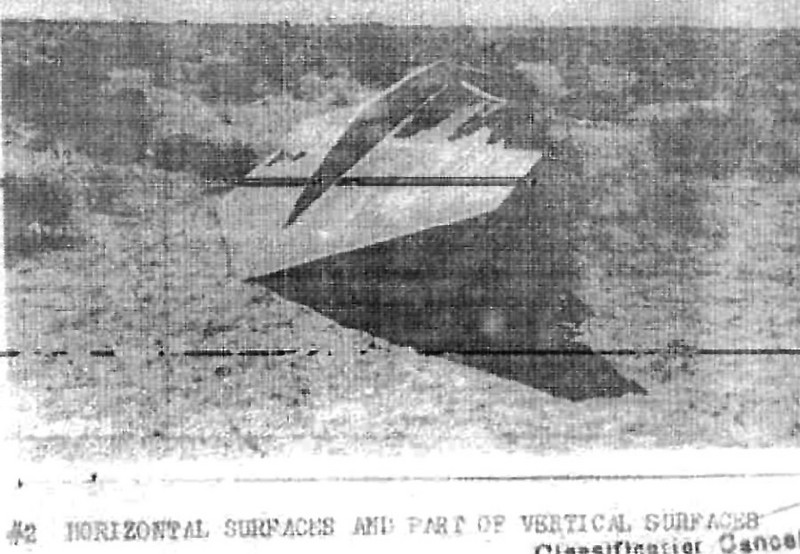 Photo of the sheared off tail section copied from the crash report.