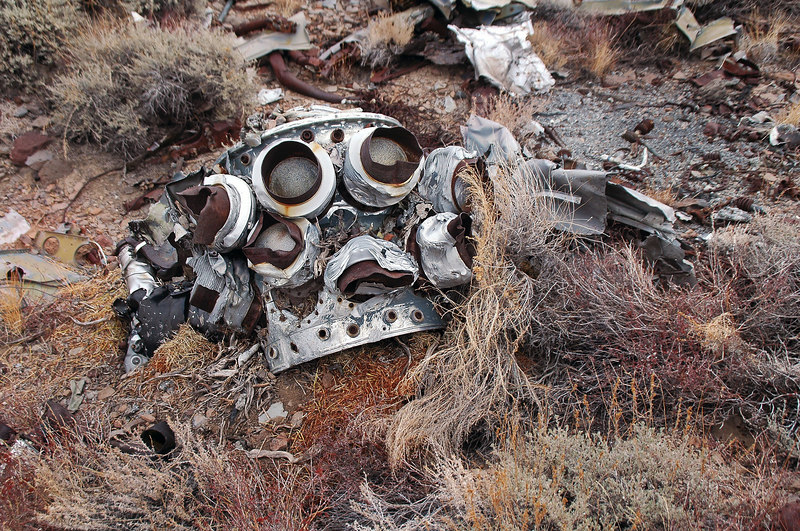 "What remains of the Pratt-Whitney R-2800-10W ""Double Wasp"" 18-cylinder radial that powered the F6F-5 Hellcat."