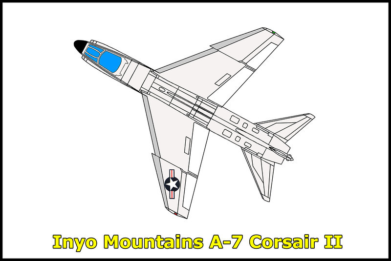 On 2/12/75, the LTV A-7E Corsair #156881 crashed in the Inyo Mountains. The pilot was killed in this accident.