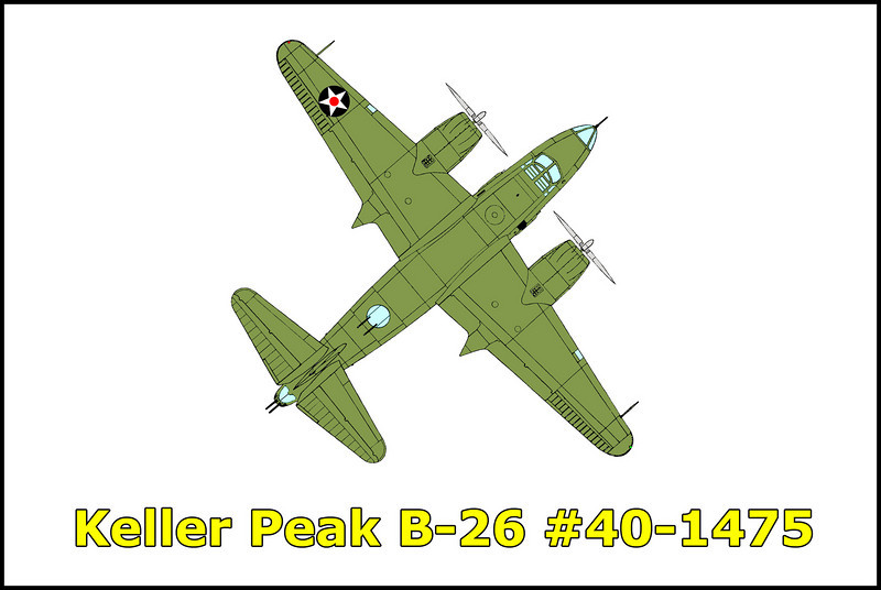 On 12/30/41, the Martin B-26 #40-1475 took off from Muroc Bombing and Gunnery Range, California along with eight other B-26s on a positioning flight to March Field in Riverside, California. During the flight, strong winds had forced the B-26 formation into instrument conditions. The B-26 #40-1475 failed to arrive at March Field and was reported missing. After an extensive search by army airplanes, the wreckage of the bomber was located on 1/14/42 near the summit of the 7,882 foot high Keller Peak. Killed in the accident were:<br />  <br /> 2Lt. Frank A. Kobal, pilot<br /> 2Lt. Joseph B. Maloney, co-pilot<br /> TSgt. Waldo Jensen, flight chief<br /> Sgt. Roger F. Organ, passenger<br /> Pvt. William R. Chinn, bombardier<br /> Pvt. Vernon H. Englebrecht, engineer<br /> Pvt. George C. May, radio operator<br /> Pvt. Jack C. Shirley, gunner<br /> Pvt. Robert N. Enyeart, crew chief