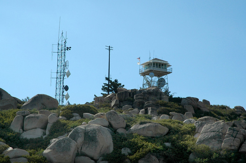 View of the fire lookout tower on the peak.