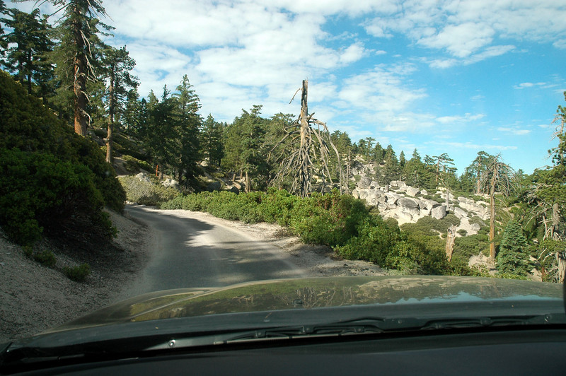 Driving up the road to Keller Peak. Plan to look for the two R-2800 engines from the B-26 that are near the peak. Only had a rough idea where they were, but thought that I would be able to find them with a photo I found on a web site.