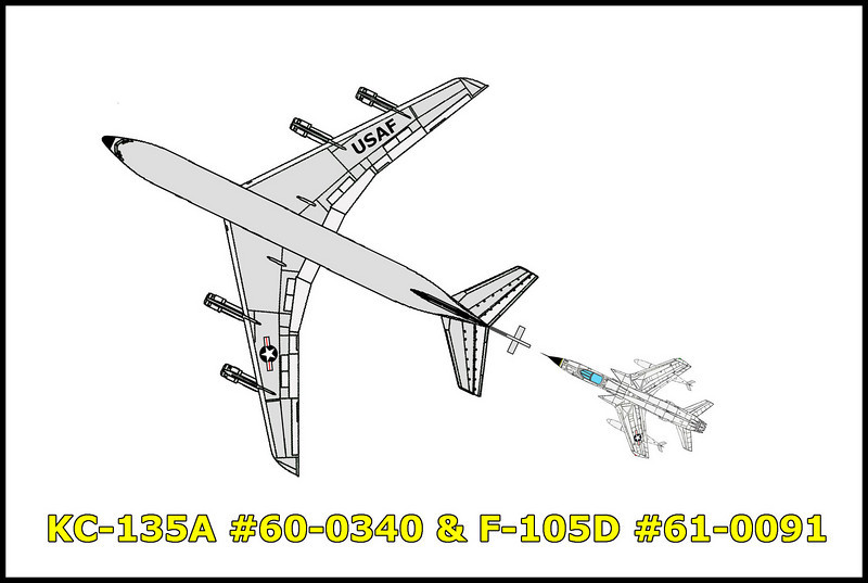 On 7/8/64 the Republic F-105D Thunderchief #61-0091 and the Boeing KC-135A Stratotanker #60-0340 collided mid-air over southern California. The F-105D #61-0091, call sign TAR 68 was assigned with the 355th TFW out of George AFB, California was on a training mission along with two other aircraft. The flight was to accomplish instrument training in addition to the scheduled air refueling and return to George AFB. The air tanker, the Boeing KC-135A #60-0340, call sign SHAG 21 was assigned with the 462th Aerospace Wing out of Larson AFB, Washington was on a combat crew training mission. The flight was scheduled for a seven hour duration taking off from Larson AFB and returning back to Larson AFB at the completion of the mission. The aircraft rendezvoused at approximately 26,000 feet and while in the process of in-flight refueling, the F-105D struck the KC-135A's right wing causing the mid-air break up of both aircraft. Killed in the accident were the four crewmembers onboard the KC-135A and the pilot of the F-105D. <br /> <br /> KC-135A #60-0340 crew,<br /> Pilot: Capt. Thomas F. Dozier<br /> Copilot: 1st LT Erwin W. Boelter Jr.<br /> Navigator: 1st Lt Ronald D. Williams<br /> Boom Operator: S/Sgt Robert J. Graves  <br /> <br /> The F-105D #61-0091 pilot, Capt Leonard F. Reynolds