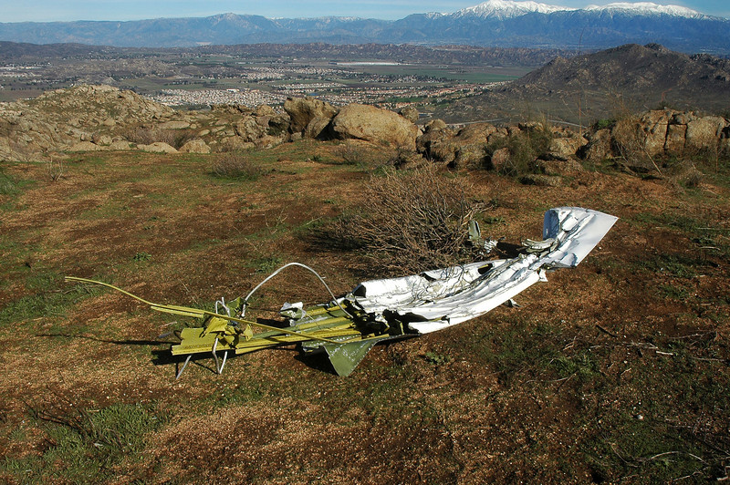 """The left wing tip. The NTSB report stated that """" The initial point of impact was identified by the debris of the left wing tip and red glass position light lens fragments""""."""
