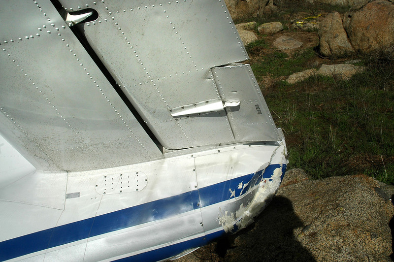 Stab root section with the elevator and trim tab. There was a small tag attached to the fuselage below the stab.