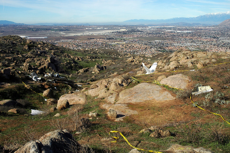 Standing on the high point looking down at the debris field. March Air Reserve Base can be seen in the background.