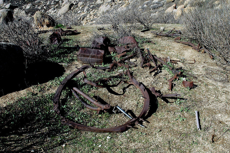 Hiking farther up the hill, I found this group of pieces. I was only finding pieces made from steel, all the aluminum was recovered long ago.