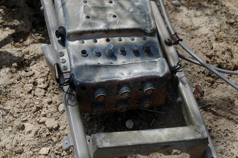 Closer view of circuit breakers and connectors. They were marked GUN HEATERS. The F-80C had six 50 cal guns mounted in the nose.