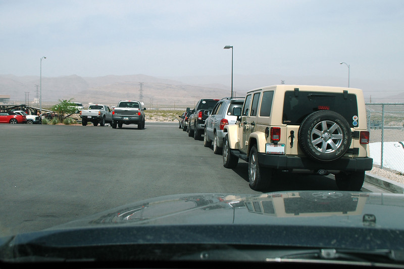 All the vehicles lined up waiting for Craig to lead us to the place where we'll search for the crash sites of the two F-80C Shooting Stars.
