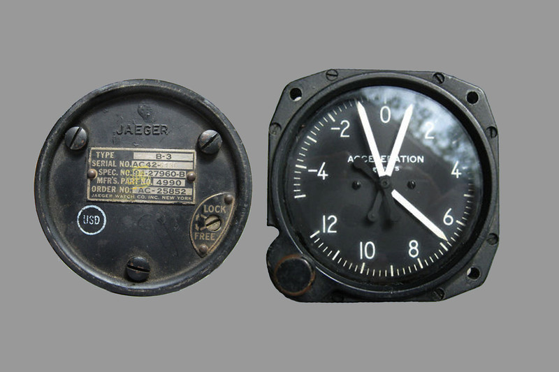 """Was able to find it on line by searching """"Jaeger 4990"""". The piece turned out to be the back plate of an acceleration gauge manufactured by the Jaeger Watch Co."""