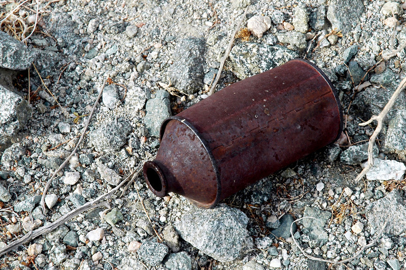 The first thing I came upon was this can, found another one nearby. At the time I thought it was a brake fluid can, but latter learned that it was an old beer can.