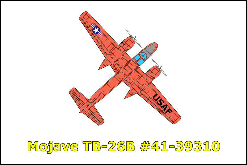 On 1/31/58 a group of five TB-26s call signs Archer 1 thru 5 flying for the 4th Tow Target Squadron were on a formation navigational training mission out of their home base at George Air Force Base, Califorina. The flight was to be a round robin trip to Winslow, to Phoenix, to Blythe and return to George Air Force Base. Only 22 minutes after taking off and at an altitude of approximately 7000 feet msl, #44-34668, Archer 4 collided with #41-39310, Archer 3. Archer 4 lost power on the right engine and suffered other damage but was able to make a safe gear up landing at George Air Force Base where a foamed runaway was prepared for them. Archer 3 faired much worse damage having lost it's tail in the collision sending it crashing to the desert below killing the pilot 1/Lt. Alexander Aros and engineer A/1C Patrick W. Hughes.
