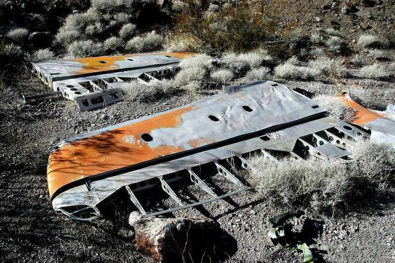 The horizontal stabilizers were laying side by side.