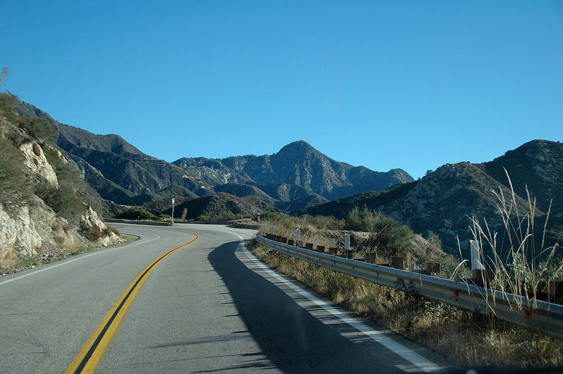 Driving up Angeles Crest Hwy on the way to the Mount Gleason area. Strawberry Peak ahead.