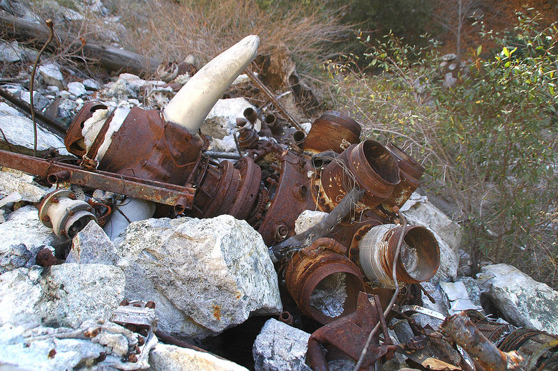 Another view of the engine. Remains of the pistons can be seen in the cylinders.