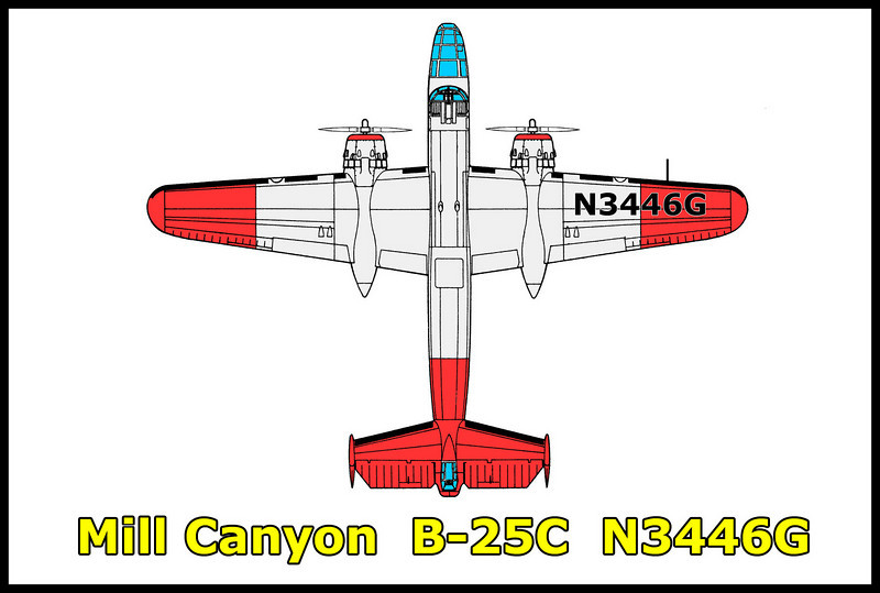 The B-25 #N3446G went down in Mill Canyon in the San Gabriel Mountains on 7/22/60 while fighting a fire. The crew of three, James Armstrong, Charles Franco and John Bowman didn't survive the crash. The aircraft was a World War II bomber converted for fire fighting use. What remains at the site is a section of wing, part of the stab, all three landing gear and both engines. Most of the rest of the aircraft melted away during the post crash fire or was removed.