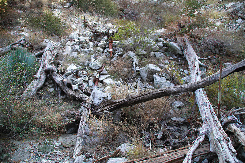 Looking up at the crash site. The engine is at the lower right and langing gear on slope.