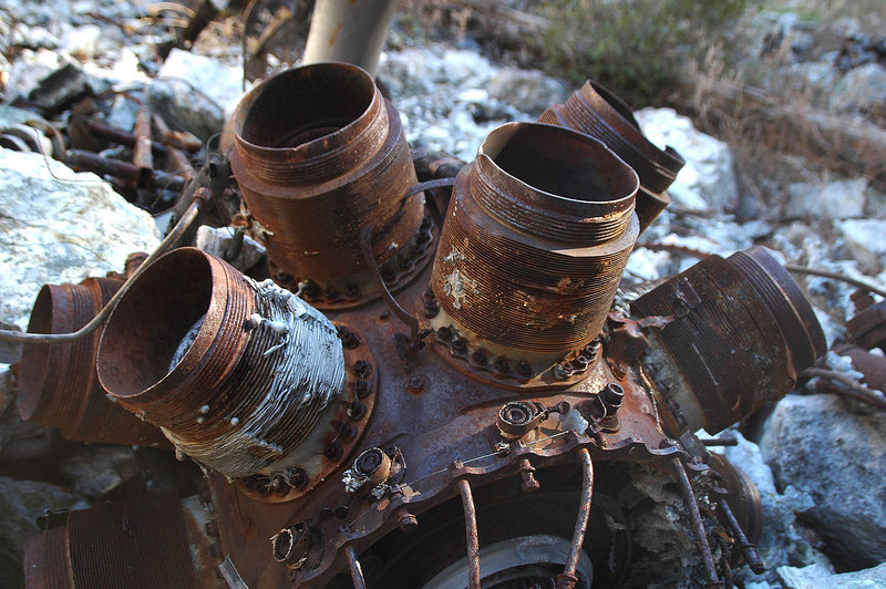 What's left of the Wright R-2600-29 Double Cyclone 14 cylinder radial engine.
