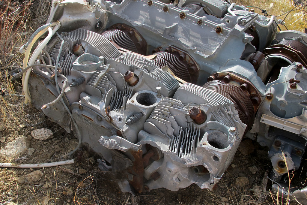 Damage on the heads and crankcase.